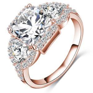 Beautiful Rose Gold White Sapphire Ring